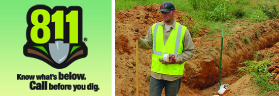 Call 811 logo and city employee holding shovel in dirt trench