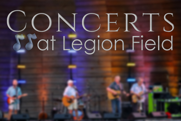 Concerts at Legion Field text with blurry concert stage picture in background
