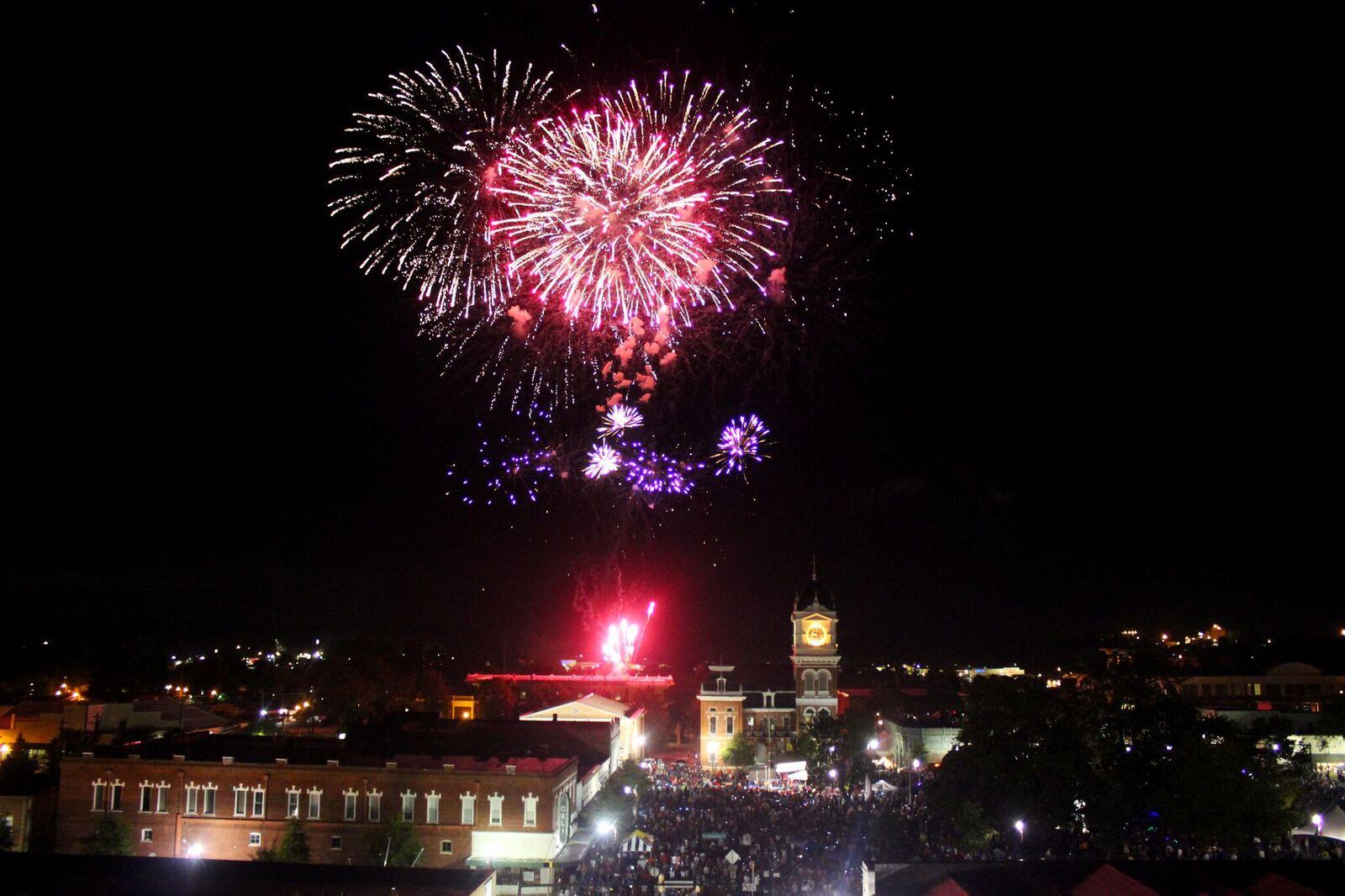 July 4 Fireworks Above Town Square, Covington Georgia