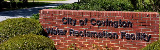 Brick sign for Water Reclamation Facility