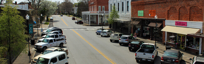 Cars parked on Monticello Street