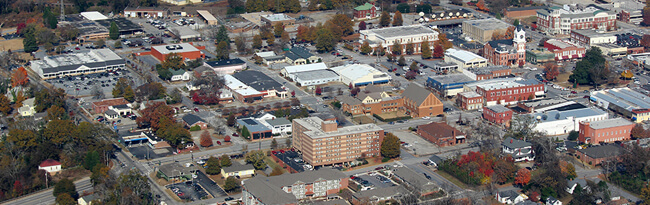 Aerial view of downtown Covington