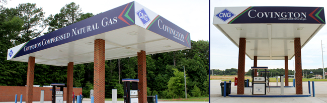 Two angles of Compressed natural gas station canopy